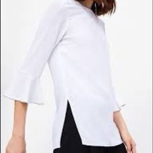 Zara side slit white blouse